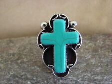 Ring Size 7 by Phoebe Tolta Native American Nickle Silver Turquoise Cross