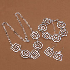 925 sterling silver Fashion WOMEN Earring Necklace Bracelet Set jewelry