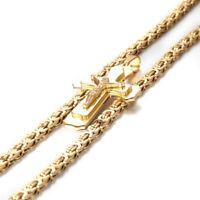 "24"" Men's Necklace Stainless Steel Silver Gold Cross Jesus Byzantine Pendant"