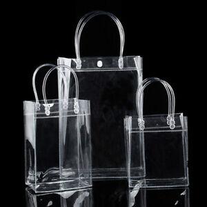 Women Clear Tote Bag PVC Transparent Handbag Shoulder Cosmetics Beach Bags Gift