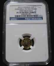 2012 CANADA 1c GOLD CENT NGC PF70 First Releases 1/25 Maple Last Farewell Penny
