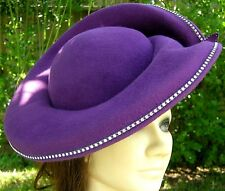 Purple George Zamau'l Couture Hat New York VTG Swarvorski Crystals Church Derby