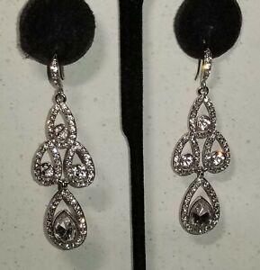 Givenchy Teardrop & Round Swarovski Crystals Drop Dangle Chandelier  Earrings