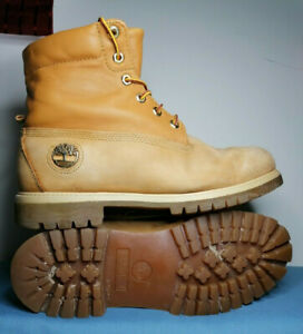 MEN'S TIMBERLAND BOOTS TAN LEATHER AND NUBUCK GOLD LOGO AND STITCHING UK SIZE...