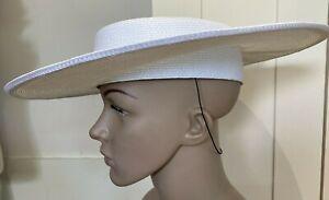 "Vintage 1980s ""Bermona Trend London"" Straw Effect Cartwheel Hat, Bow Trim Size M"