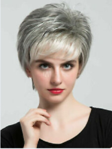 100% Human Hair New Fashion Glamour Women's Short Natural Gray Straight Wigs