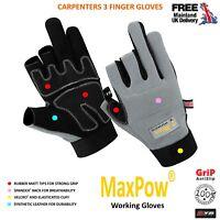KYB® 3 Fingers Framers Carpenter GLOVES Carpenters Mechanics Working Builders UK