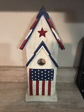 Patriotic Birdhouse Wooden Red/White/Blue with Star New 16�