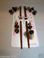 Dark Brown  Dangle Wooden Hair Sticks With Matching Earrings