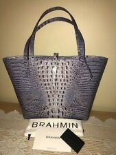 BRAHMIN ALL DAY TOTE WASHED INDIGO BLUE MELBOURNE LEATHER TOTE BAG NEW W REG