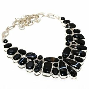 "Black Sardonyx Gemstone Handmade Ethnic Jewelry Necklace 18"""