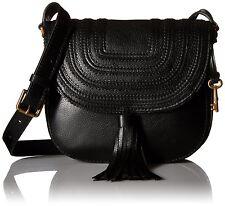 Fossil Emi Tassel Leather Crossbody Saddle Bag Black