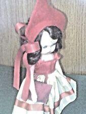 "NANCY ANN STORYBOOK  PLASTIC DOLL 5 1/2"" TALL.WEARING RED FELT HAT & BLOOMERS"