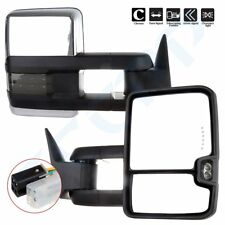 Pair Power Chrome Led Clearance Signals Tow Mirrors for 88-98 GMC 1500/2500/3500