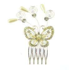 cristal et perle Butterfly Peigne à cheveux, Mariages 9 cm(D)