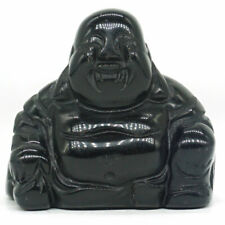 1.1 Inch Natural Black Obsidian Carved Maitreya Happy Laughing Buddha Figurine