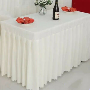 Rectangle Tablecloth Table Skirt Cover For Wedding Banquet Party Decor White
