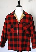 Vintage 1960s FOX KNAPP CPO WOOL Warm Shirt JACKET USA Made XL Red Buffalo Plaid