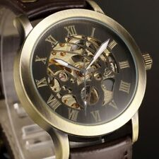 Classic Retro Men Bronze Skeleton Automatic Mechanical Brown Leather Wrist Watch