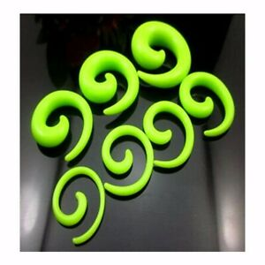 2 Gauge Punk Snail Spiral Acrylic Hook Taper Ear Plug Earring Expander Stretcher
