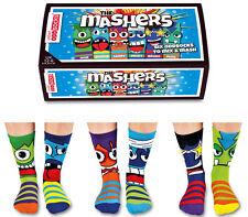 UNITED ODDSOCKS THE MASHERS SIX MONSTER FACED ODD SOCKS FOR BOYS UK SIZE 12 - 6