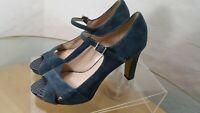 Franco Sarto Mary Jane Heels Peep Toe  Blue Suede women's Size 9 With 4' heels