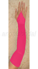 """23"""" FUCHSIA fingerless HOT PINK STRETCH SATIN PROM COSPLAY PARTY COSTUME GLOVES"""