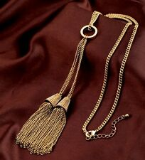 Haute Couture Tassel Fringe Necklace Antique Gold Long Runway Lariat Necklace