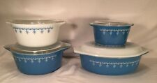 Vtg Pyrex Nesting Snowflake Garland Blue Glass Casserole Dish Dishes Set + Lids
