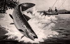 1952 AD UNITED AIRCRAFT FLY FISHERMAN GIANT SALMON RUDDY ART