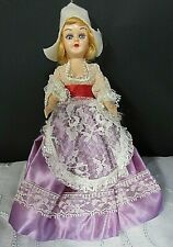 """New ListingVintage 8"""" 1950's Holland Girl Doll Ethnic Lace Dress and White Hat"""