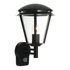 Matt Black Modern Exterior Wall Light with PIR Outside Light IP44