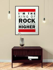 "RUN DMC "" KING OF ROCK "" Lyrics Poster Framed Unframed ORIGINAL ART - 16 SIZES"