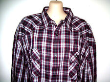 MENS BRIGALOW LS WESTERN STYLE SHIRT 100% COTTON MAROON CHECK SIZE 4XL