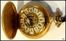 VINTAGE SHEFFIELD SWISS MADE GOLD TONE FULL HUNTER POCKET WATCH W/ CHAIN - FPO