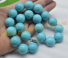HUGE 20MM NATURAL BLUE TURQUOISE GEMSTONE ROUND BEADS JEWELRY NECKLACES 18INCHES