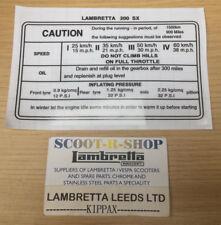 LAMBRETTA SX 200 RUNNING IN STICKER. SX 200CC. BRAND NEW.