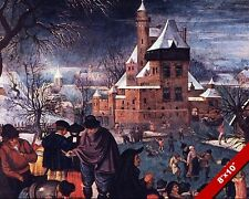 ICESKATING IN WINTER EUROPE GERMANY PAINTING ART REAL CANVAS PRINT