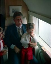 President John F. Kennedy aboard helicopter with JFK Jr. New 8x10 Photo