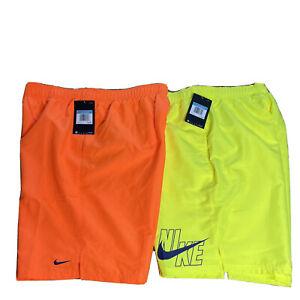 NWT Lot (2) Nike Swim Shorts Trunks Men's Medium Neon Yellow Orange Pull On