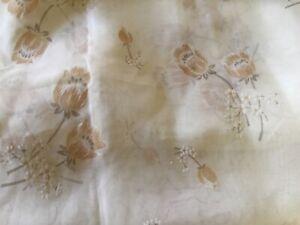 "Sheer Flocked Fabric Curtains Cream w Tulip Flowers 80"" x 40"" Vintage"