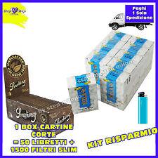 1500 filtri RIZLA SLIM 6mm 1 BOX + 3000 Cartine SMOKING BROWN senza cloro 1 BOX