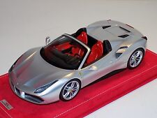 1/18 MR Collection Ferrari 488 Spider in Silver on Alcantara Base