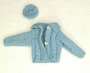 Vintage Barbie Doll Handmade Knit Blue Cardigan Sweater & Beret