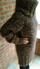 THICK HEAVY CHUNKY COWL NECK MOHAIR AND WOOL HAND KNITTED SWEATER