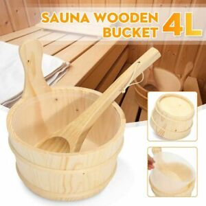 Sauna Wooden Bucket 4l With Ladle Pe Liner Combined Set Portable Sauna Room