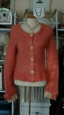Anthropologie Moth Coral Orange Ribbed Knit Cardigan Lace Trim Bow Sleeve L