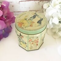 RARE Antique Cinderella tin litho box, Fairy tale candy canister can, Vintage