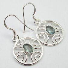 "Sterling Earrings !! 925 Pure Silver CUT GREEN APATITE DANGLING Jewelry 1.3"""