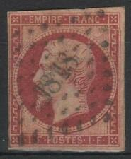 "FRANCE STAMP TIMBRE 18 "" NAPOLEON III 1F CARMIN 1853 "" OBLITERE A VOIR  M442"